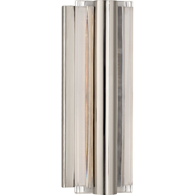 DALEY SMALL LINEAR SCONCE IN POLISHED NICKEL WITH CLEAR ACRYLIC