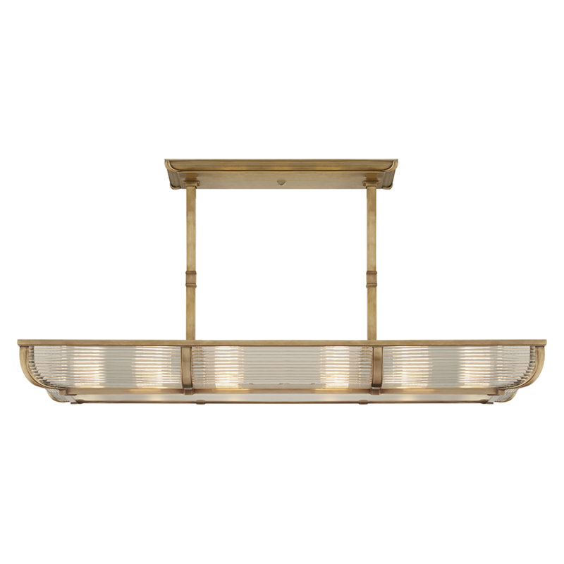 PERRY MEDIUM LINEAR PENDANT IN NATURAL BRASS WITH WHITE GLASS