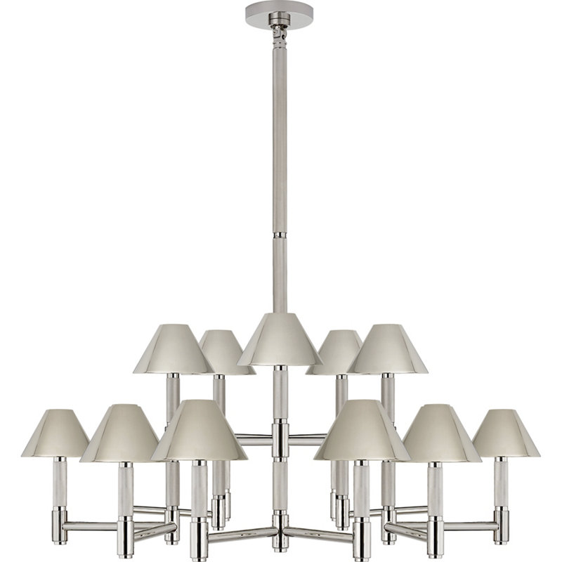 BARRETT LARGE KNURLED CHANDELIER IN POLISHED NICKEL WITH POLISHED NICKEL SH