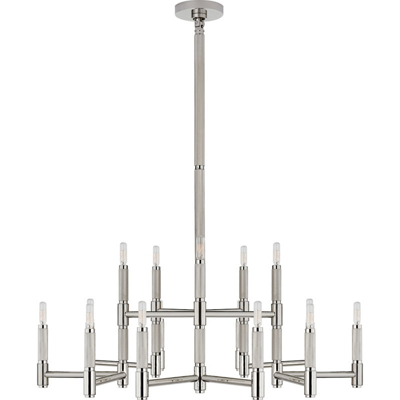 BARRETT LARGE KNURLED CHANDELIER IN POLISHED NICKEL