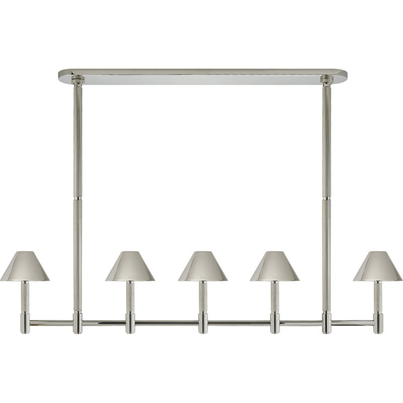 BARRETT LARGE KNURLED LINEAR CHANDELIER IN POLISHED NICKEL WITH POLISHED NI