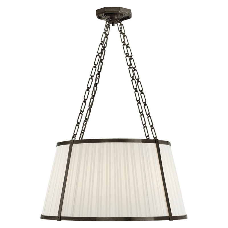 WINDSOR LARGE HANGING SHADE IN BRONZE WITH BOX PLEAT SILK SHADE