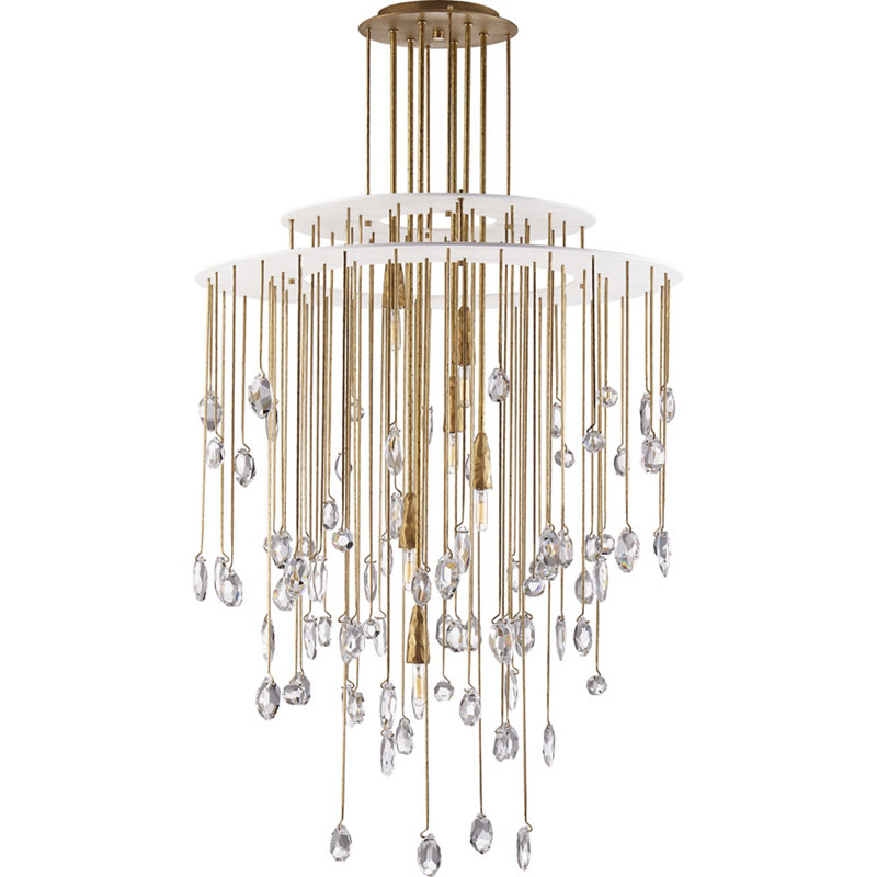 HAILEE MED.CHANDELIER IN NATURAL BRASS WITH CRYSTAL