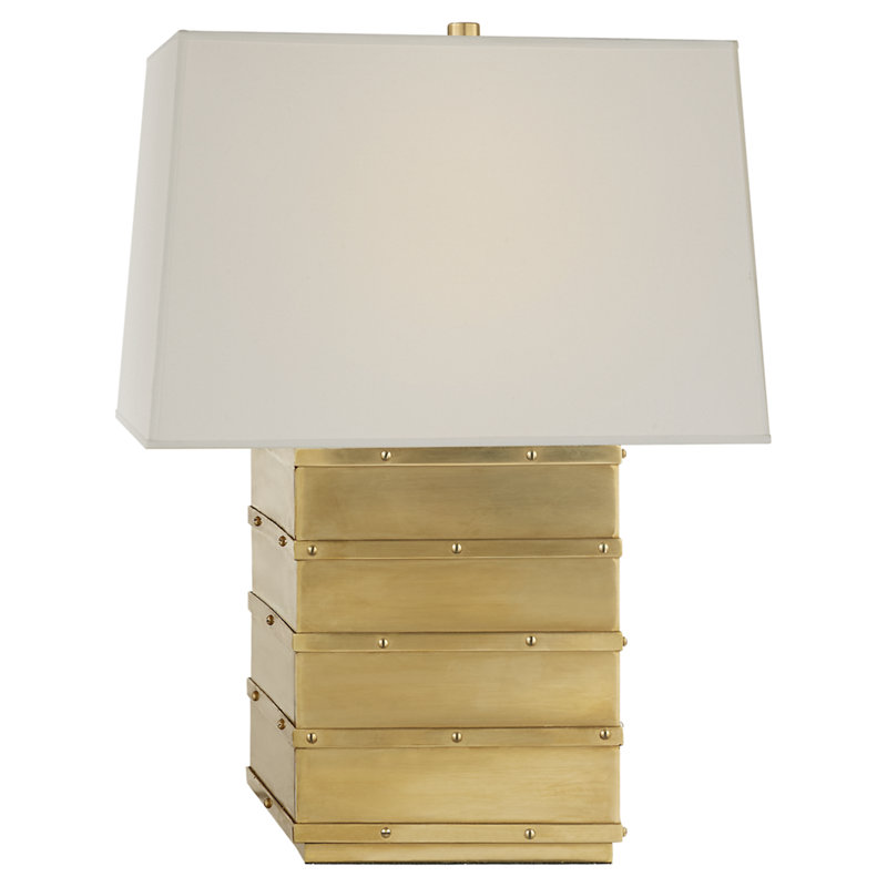 BLEEKER BEDSIDE LAMP IN NATURAL BRASS WITH PERCALE SHADE
