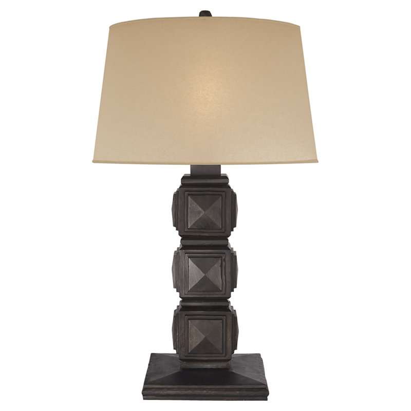 BARLOW TABLE LAMP IN AGED IRON WITH FAUX DRUM SKIN SHADE