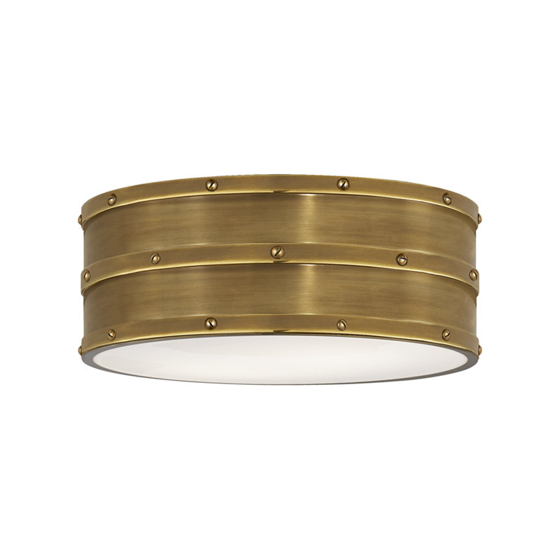 BLEEKER FLUSH MOUNT IN NATURAL BRASS WITH WHITE GLASS