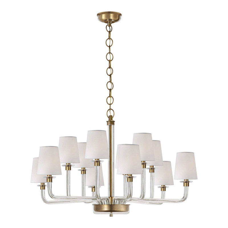 PARKER LARGE CHANDELIER IN NATURAL BRASS AND CRYSTAL