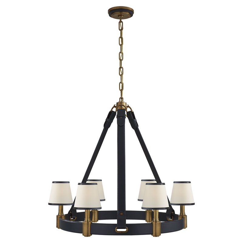 RILEY MEDIUM RING CHANDELIER IN NATURAL BRASS AND NAVY LEATHER