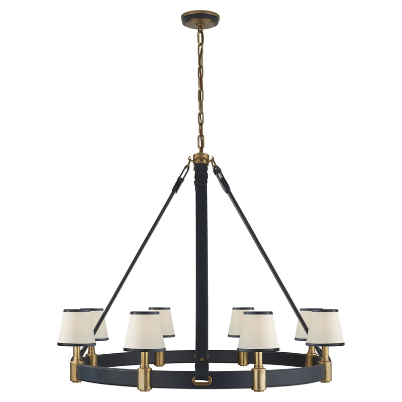 RILEY LARGE RING CHANDELIER IN NATURAL BRASS AND NAVY LEATHER