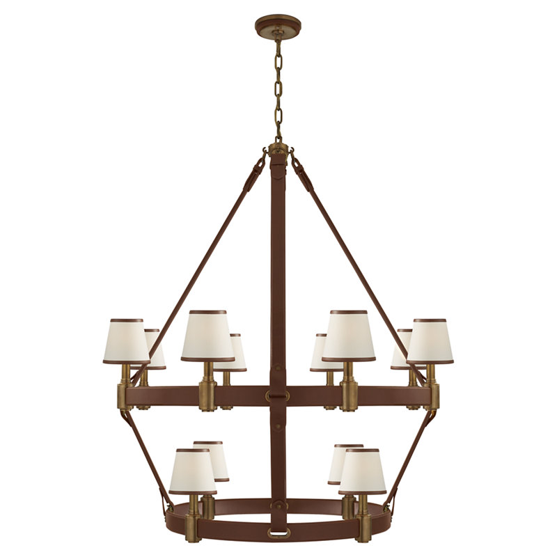 RILEY LARGE TWO TIER CHANDELIER IN NATURAL BRASS AND SADDLE LEATHER