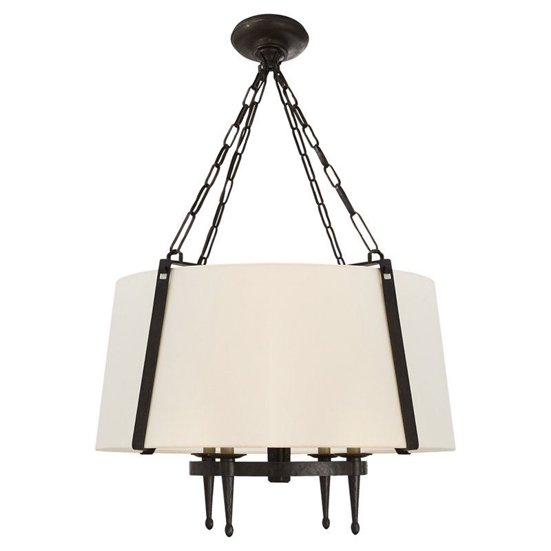 BRANSON MEDIUM HANGING SHADE IN AGED IRON WITH LINEN SHADE